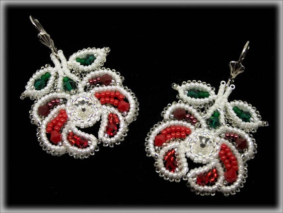 Kalocsa red rose earrings beading TUTORIAL