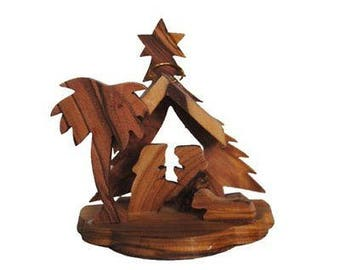 Olive Wood Christmas Tree Ornament with Nativity Scene