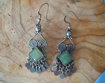 Vintage silver and jade earrings