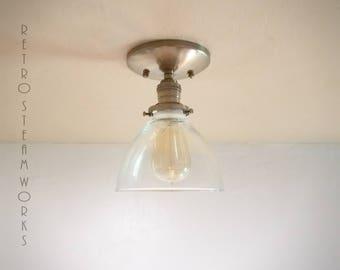 Semi Flush Light  - Hand Aged Brass and Bell Glass Shade Finish Loft Lamp - Hand Made