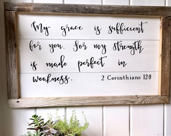 Shiplap style or solid wood bible verse sign, salvaged & reclaimed barn wood frame, farmhouse style, grace, rustic, wall hanging, wall decor