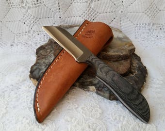 Hand Made Fixed Blade Whittling Knife, Full Tang Micarta, Utilitarian, Authentic Leather Sheath, Annealed High Carbon Steel Blade, Whitling