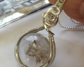 Handcrafted Manifestation ( Phantom) Quartz Wire Wrapped Charm Necklace Jewelry