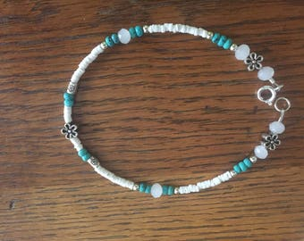 Anklet with white heishi, turquoise, crystal, pewter, and sterling silver beads