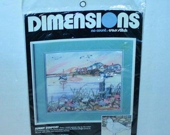 Dimensions Cross Stitch Sunny Seaport No count cross stitch kit #3932 Sealed Vintage 1989