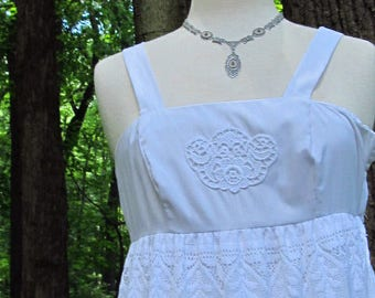 Cotton White Sun Dress with Embroidery