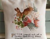 Handmade Small Decor Pillows Peter Rabbit Cross Stitch with Text Beatrix Potter Nursery Decor