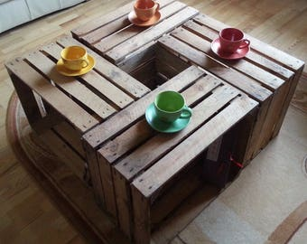 4 x Vintage Wooden Apple Crate, Rustic Wood Box, Wedding Decor, Coffee table, occasional table, Cottage Living, Photo Prop