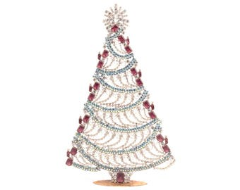Large Czech free standing handmade glass rhinestone candle fringe Christmas tree