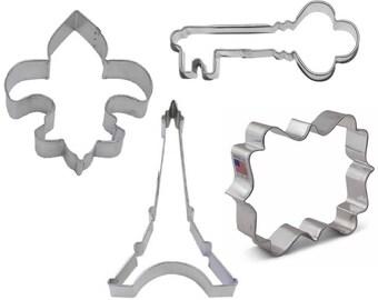 4 Piece French Paris Cookie Cutter Set Eiffel Tower Fleur De Lis Antique Key Plaque