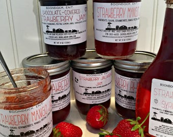 Strawberry Jam - Chocolate Strawberry Jam - Strawberry Jalapeno Jam - Strawberry Rhubarb Jam - Strawberry Mango Jam - Choose up to 4 Flavors
