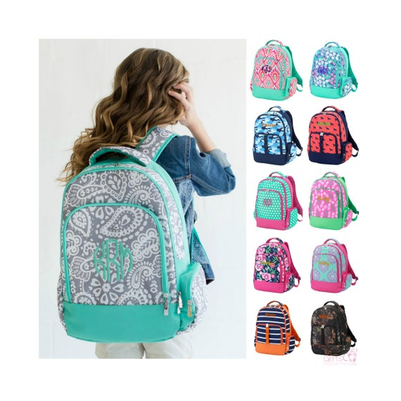 Monogrammed Backpack Personalized Bookbag Girls Boys Kids