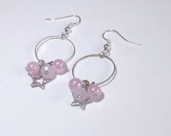 Pink earrings silver and pink - rings metal, glass beads