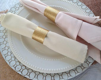 gold glitter wedding napkin rings party table napkin rings bling napkin rings rehearsal - Wedding Napkin Rings
