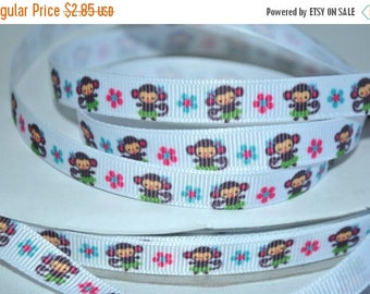 "ON SALE 5 yards -3/8 "" grosgrain monkey print  print"