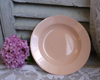 Antique french blush pink small serving dish. Salmon pink shallow serving bowl. Oinment pink. Shabby pink. Minimalist. Art deco pink.