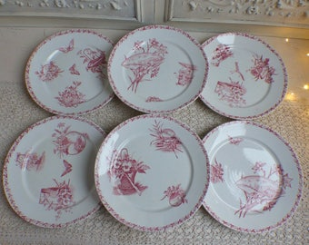 Set of 6 French antique ironstone dark rose red transferware dinner plates. Pink transferware. Jeanne d'Arc living. Aesthetic Movement