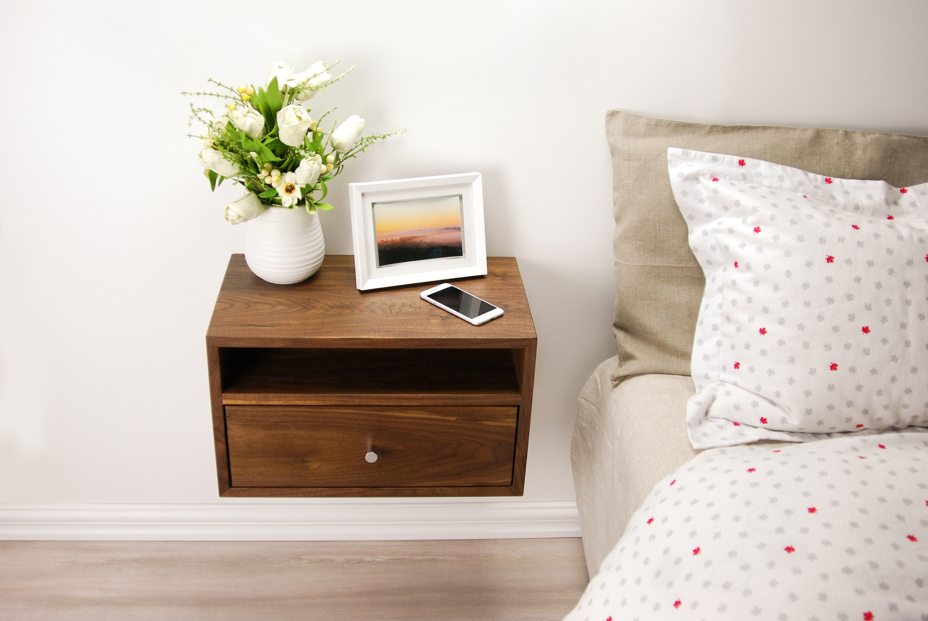 Floating Nightstand With Drawer And Open Shelf / Walnut Wood Hanging Bedside  Table / Scandinavian / Mid Century / Modern / Minimalist