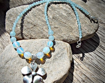 Magical opalite,Agate and Jade daisy necklace