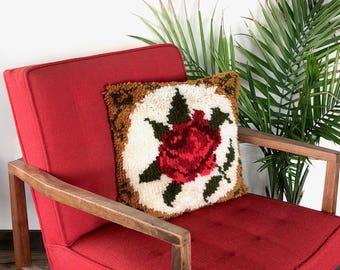 Vintage Pillow | Rose Latch Hook Pillow | Floral Decor | 70s, Boho Home/Wall Decor