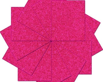 "Pre-cut Sheets Glitter Heat Transfer Vinyl - Hot Pink - 12 Sheets - 10""x12"""