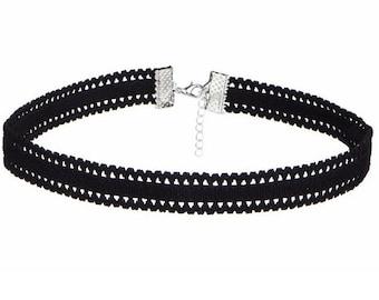 Black Velvet Herringbone Choker Necklace