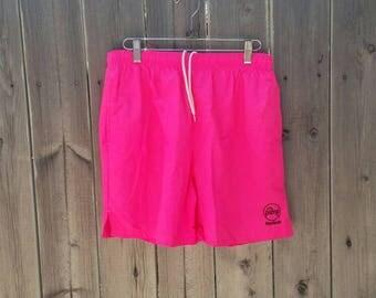 Vintage 1980s Reebok Pump Neon Pink Swim Trunks
