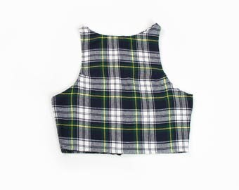 Fitted Flannel Plaid Crop Top (4 COLORS, Made to Order)