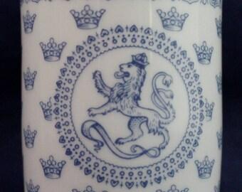 "RORSTRAND Blue Crown Miniature Bud White Vase 3"" Crest Made in Sweden"