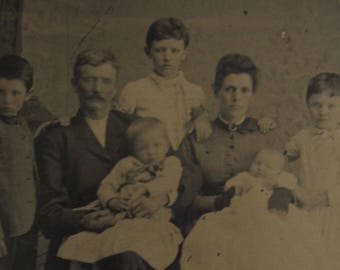 For A Moment All Was Good - Original 1880's Young Family Tintype Photograph - Free Shipping