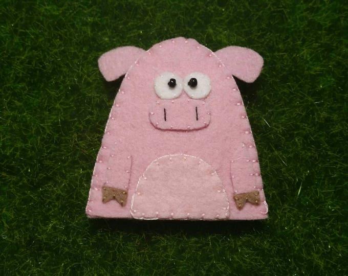Wool Felt Pig Finger Puppet