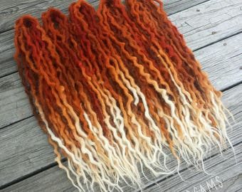 "Double Ended Wool Dreads ""Red Fox"" 20-22 auburn red orange white brown ~Choose Length and Amount~"