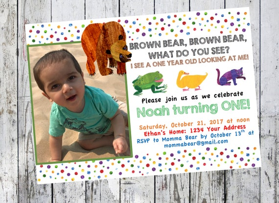 Brown bear brown bear what do you see birthday invitation eric il570xn filmwisefo