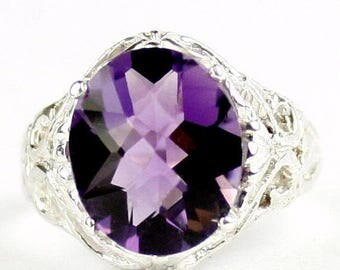On Sale, 20% Off, Amethyst, 925 Sterling Silver Ring, SR114