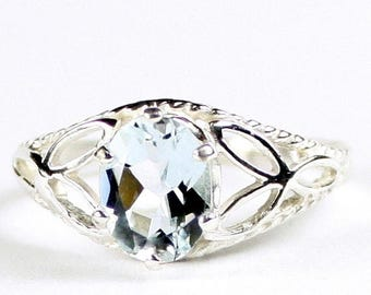 On Sale, 20% Off, Aquamarine, 925 Sterling Silver Ring, SR137