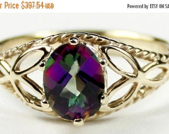 On Sale, 30% Off, Mystic Fire Topaz, 14KY Gold Ring, R137
