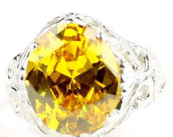 Halloween 30% Off, Golden Yellow CZ, 925 Sterling Silver Ring, SR114