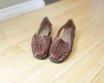 vintage woven brown leather hurache sandals womens 9