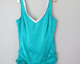 vintage 1980's turquoise green one piece swimsuit womens