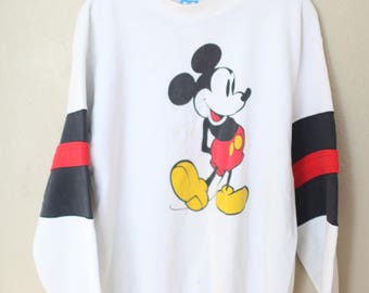 vintage distressed micky mouse white oversized slouchy 1980's sweatshirt