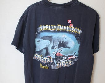 vintage harley davidson  crystal river florida black motorcycle t shirt