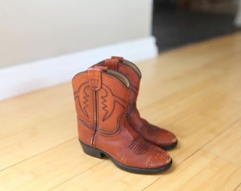 vintage brown leather cowboy boots  kids 7