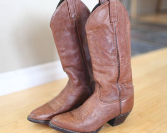 vintage  brown leather topstitch cowboy boots womens 5 1/2