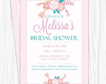 Printable Bridal Shower Invitation, Pastel Floral Wedding Shower Invite, Printable Bridal Shower Invite, CUSTOM Design, 4x6, 5x7, YOU print