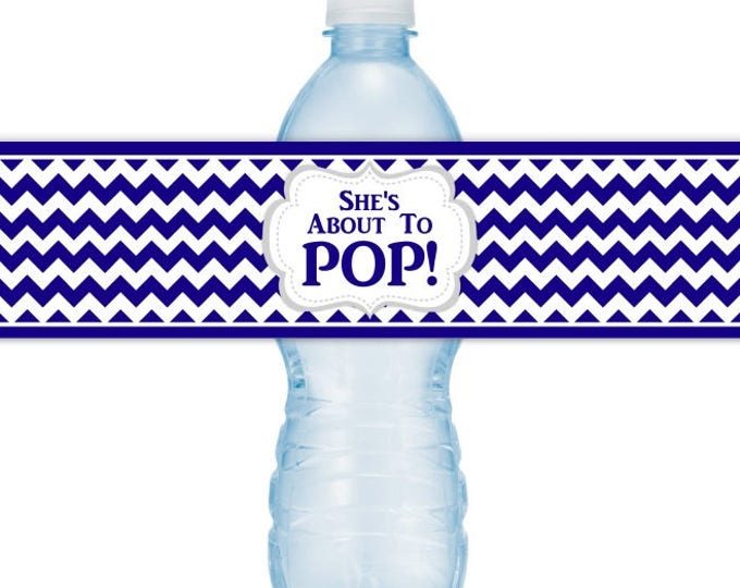 She's About To Pop Water Bottle Labels, INSTANT DOWNLOAD - Navy Blue Baby Shower, you print, you cut, DIY