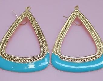 Blue Triangle Dangle Earrings