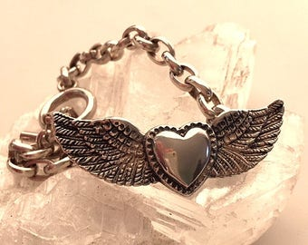 Vintage Artisan Sterling Silver Winged Heart Bracelet - 22.16 Grams - 6 1/2 Inches