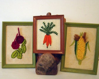 Vintage framed vegetable needlepoint prints, Vegetable kitchen decor, needlepoint cross stitch vegetables, set of 3