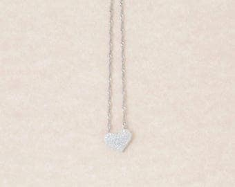 Solid 18K White Gold Natural Diamond Heart Pendant & 14K WG Necklace 3.7 Grams