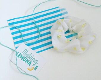 Lemon floral scrunchie